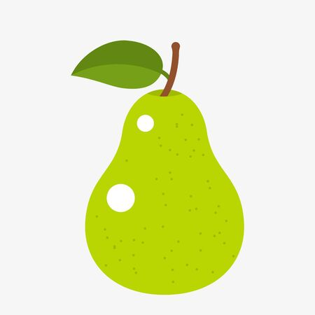 silhouette yellow juicy pear with a leaf in a flat style. vector illustration isolated on white background