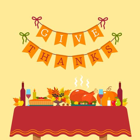 Thanksgiving Greeting Card. a festive table with a tablecloth with baked turkey and pumpkin pie on the background of a congratulatory inscription. flat vector illustration