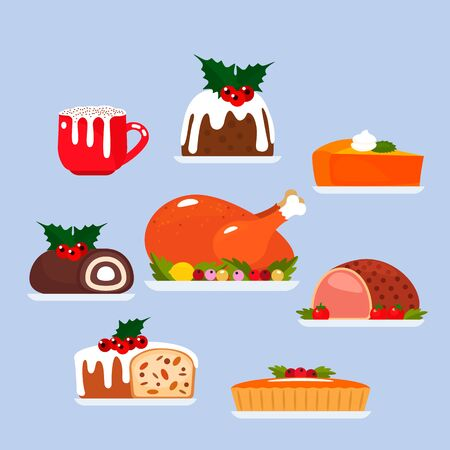 festive dishes for christmas and thanksgiving. A large set of food for the festive table. Baked turkey with vegetables, pumpkin pie, Christmas pudding and coffee drink with milk froth. vector illustration