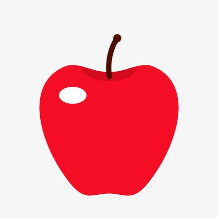 silhouette red juicy apple in a flat style. vector illustration isolated on white background
