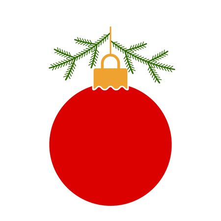 red Christmas ball with Christmas tree branches. flat template for the holidays. Xmas concept .vector illustration isolated on white background