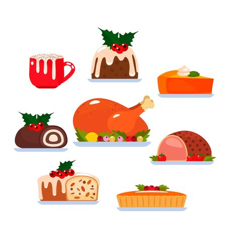 Duży zestaw tradycyjnych dań na Boże Narodzenie i Święto Dziękczynienia. Pieczony indyk, świąteczny pudding, ciasto dyniowe, napój kawowy z mleczną pianką. ilustracja wektorowa na białym tle