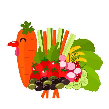 Festlicher Truthahn aus saisonalem Herbstgemüse. Thanksgiving-Grußkarte oder Banner. Vektor-Illustration