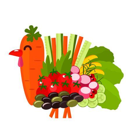 Pavo festivo elaborado con verduras de temporada otoñales. Tarjeta de felicitación de acción de gracias o banner. ilustración vectorial