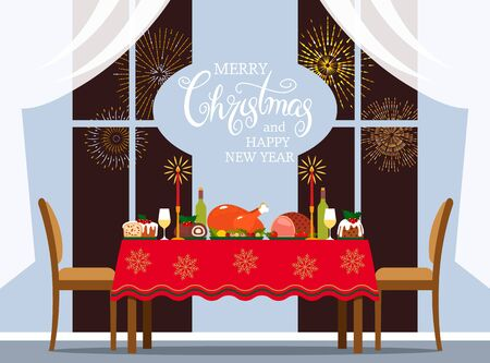 Traditional Christmas table with turkey, pudding, baked meat and desserts. Hand calligraphy lettering. card Christmas room interior and house design. Christmas concept. vector illustration Illustration