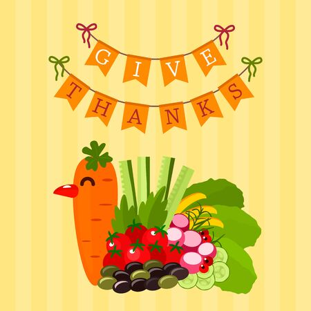 Festive turkey made from autumn seasonal vegetables. Thanksgiving greeting card or banner. vector illustration Ilustração