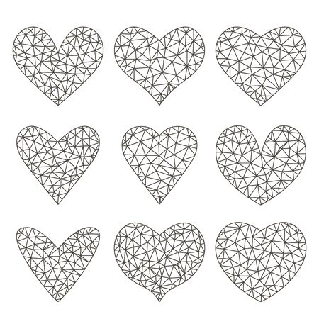 A large set of red raspberries and black hearts in the style of linear polygonal triangulation. Modern heart icon with sparkle glitter on a white background. flat vector illustration isolated Иллюстрация