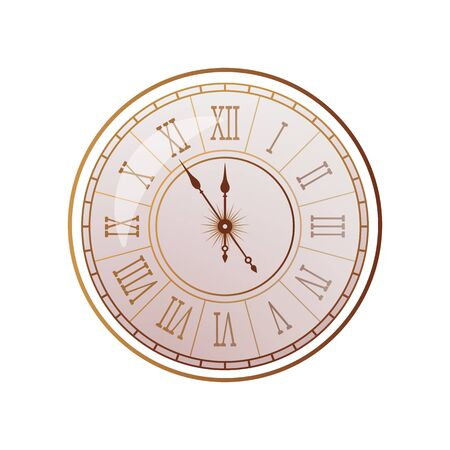 Vintage watch with a Roman dial in a realistic antique style. vector illustration isolated on white background Иллюстрация