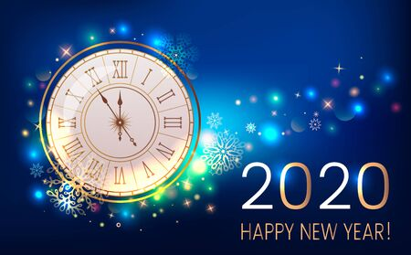 Happy new year 2020 greeting card or banner on the background of fireworks, shine and stars. New Year and holidays concept Xmas. vector illustration Stok Fotoğraf - 132121901