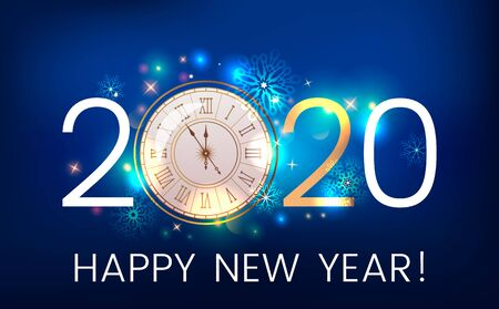 Happy new year 2020 greeting card or banner on the background of fireworks, shine and stars. New Year and holidays concept Xmas. vector illustration