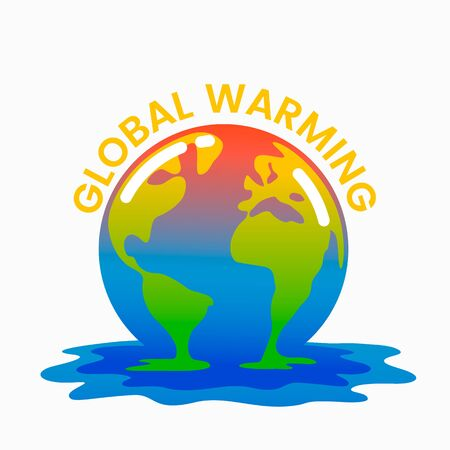 Planet Earth is melting and dying of global warming. Earth turns into a puddle. Ecological disaster concept vector illustration.