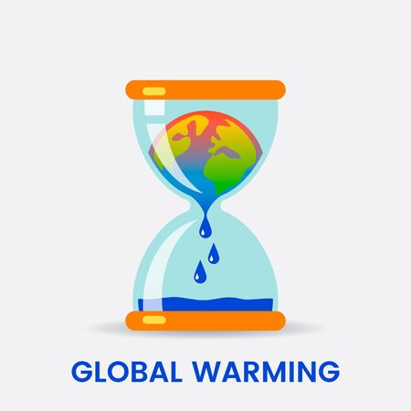 Planet Earth is melting and dying of global warming. Earth turns into a puddle in an hourglass. Ecological disaster concept vector illustration. Иллюстрация