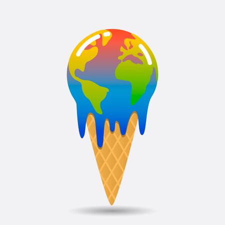 Planet Earth is melting and dying from global warming in the form of an ice cream cone. environmental disaster concept vector illustration Archivio Fotografico - 132412313