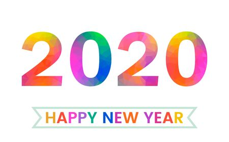 Greeting template for Christmas leaflets, greeting cards, brochures for the new 2020 year. numbers in polygonal bright style. vector illustration
