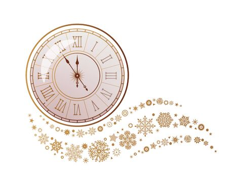 A gray whirlwind of golden snowflakes and stars around an antique clock with a Roman dial. New Years element. Xmas concept flat vector illustration isolated on white background