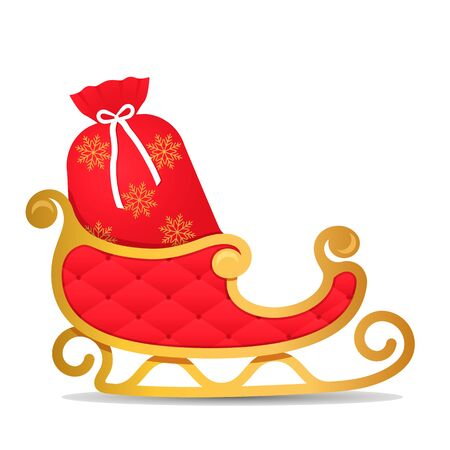 Golden christmas with red santa claus sleigh and full red bag with gifts isolated on white background. Xmas concept. vector illustration