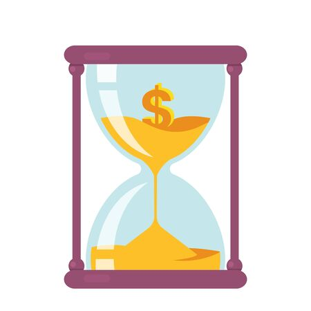 Time is money. business concept. hourglass with golden dollar.