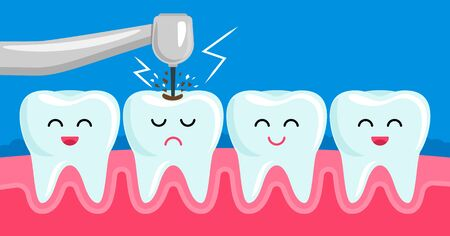 friends healthy teeth and bad tooth drills a medical drill. concept stomatology of pediatric . dental diseases such as periodontitis, caries, tartar, fissure. vector illustration