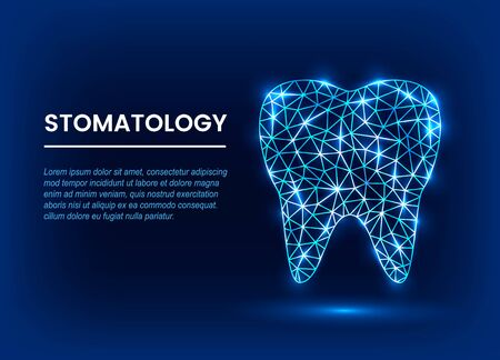 Medical banner of modern dentistry. Polygonal techno tooth in a linear style. stomatology concept. vector illustration on a blue background Фото со стока - 132795561