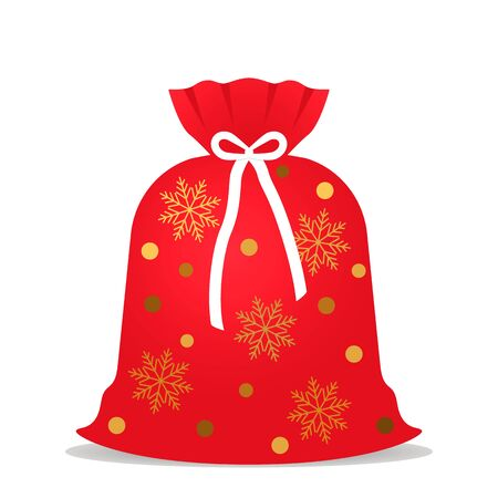 Santa Claus sack full of presents. Red sack with golden stars and snow. Vector illustration isolated on a white background. concept Xmas Иллюстрация