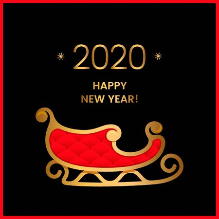 2020 Happy New Year greeting card or invitation. Christmas golden with red Santa Claus sleigh. Concept Xmas. vector illustration Иллюстрация