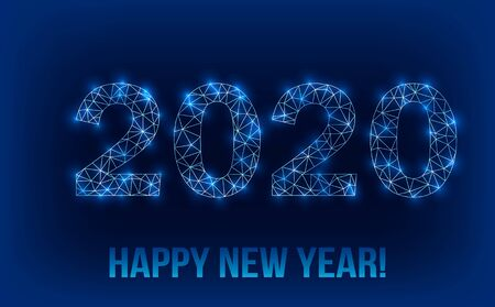2020 Happy New Year greeting banner in modern polygonal style with shine and glitter. Иллюстрация