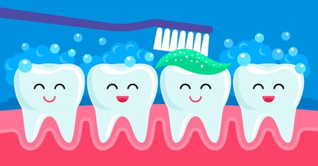 Cheerful friends healthy teeth are smiling when they are cleaned with toothpaste and brush. concept of pediatric stomatology. vector illustration