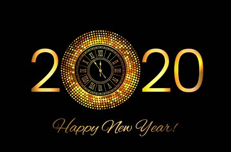 Greeting card or invitation happy new year 2020. Gold frame disco lights in the style of halftone. New Year party and concept Xmas. vector illustration Иллюстрация