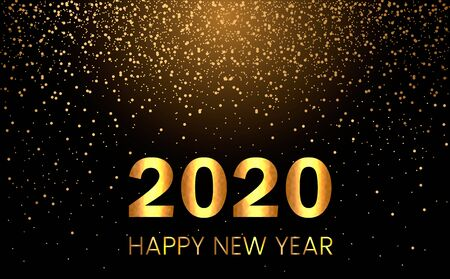 Happy new year 2020 postcard or poster on a background of golden rain of candy. New Year holidays concept. vector illustration Иллюстрация