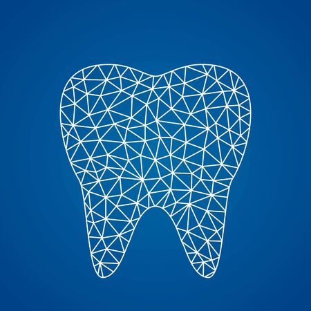 Modern healthy tooth icon in linear polygonal style.