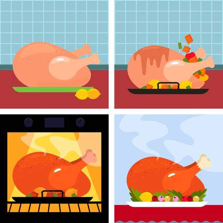 Step-by-step instructions for making Thanksgiving holiday turkey. Fresh, pickled, turkey in the oven and turkey with a golden crust. concept Xmas. vector illustration Иллюстрация