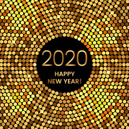 2020 Happy New Year holiday greeting card in modern disco style. golden vector illustration. Иллюстрация