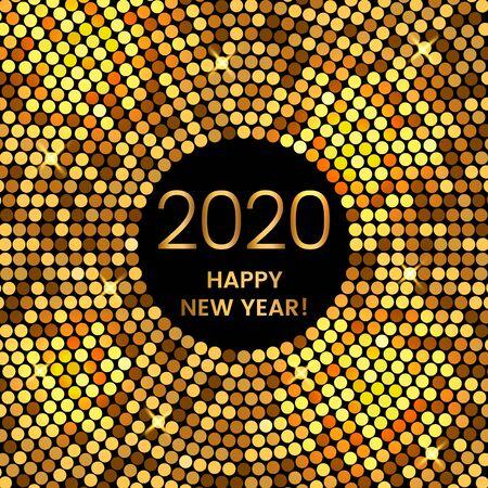 Tarjeta de felicitación navideña de feliz año nuevo 2020 en estilo discoteca moderno. ilustración vectorial de oro.
