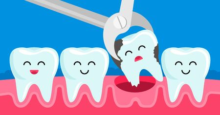 tooth decayed tooth is removed with tweezers in the oral cavity. concept of childrens dentistry. Kawaii facial expressions in teeth. vector illustration Иллюстрация