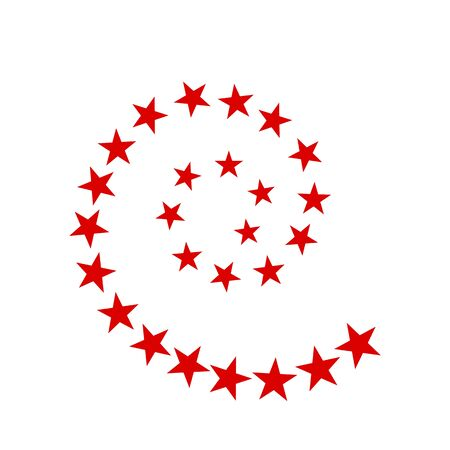 Abstract star logo in a spiral. Red sticker or print. flat vector illustration isolated on white background