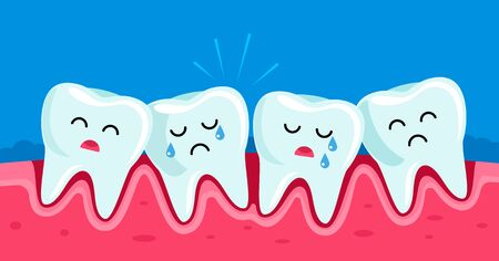 crooked teeth in children. periodontitis disease. concept of pediatric dentistry. kawaii facial expression character. vector illustration
