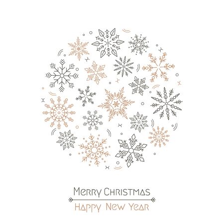 Merry Christmas and New Year quote with Christmas snowflakes wreath in a circle on a white background. Design element for greeting cards for banners, invitations and flyers. Xmas concept. vector