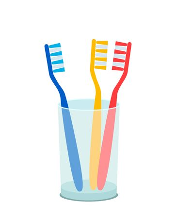 Set of colored toothbrushes in a glass. family oral hygiene concept. flat vector illustration isolated on white background