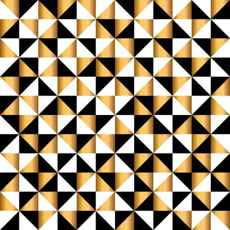 Abstract geometric seamless pattern in gold, white and black colors. Holiday Packing Sample. vector illustration