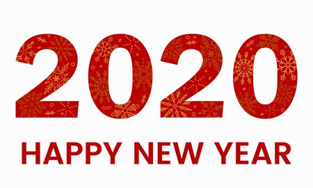 2020 new year date red with snowflakes inside. Christmas holiday element design. vector illustration isolated on white background Иллюстрация