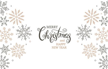 Simple modern greeting card merry christmas and happy new year. Hand lettering lettering and flat snowflakes. Congratulatory banner or invitation.Xmas concept. vector illustration isolated