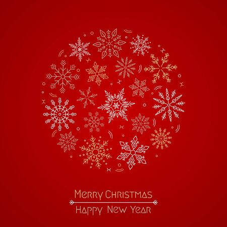 Merry Christmas and New Year quote with Christmas snowflakes wreath in a circle on a red background.