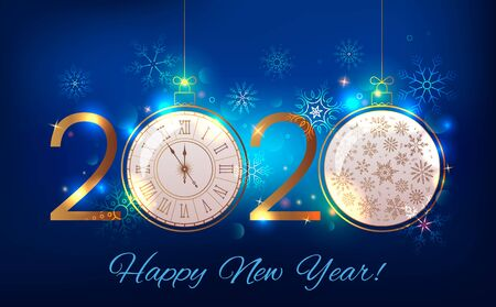 2020 Happy New Year greeting card or banner on the background of fireworks, sparkle and stars and a Christmas ball with a Christmas tree.