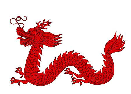 traditional chinese red dragon in linear style