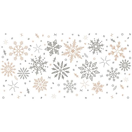 Gray swirl of golden snowflakes and stars. seamless christmas garland. New Year.