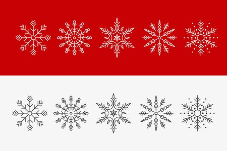 Set of beautiful patterned laser cut snowflakes. Template Christmas decorations New Year decorations. Ilustração