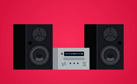 Home modern stereo audio system and cassette player.