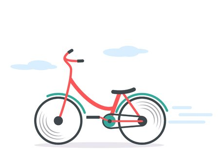 Colored bright city bike rides along the street. flat vector