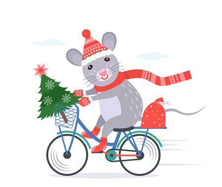 funny little rat in santa claus costume rides a bike with a christmas tree and a full bag of gifts.