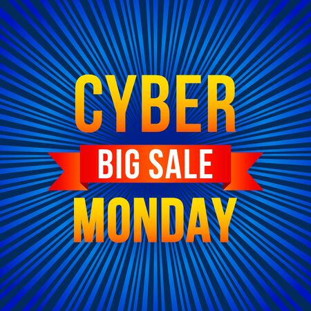 Cyber monday, big discount banner on techno background and binary code.